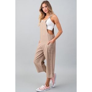 Pants - 💥ONLY 1!! BOYFRIEND LINEN KHAKI OVERALL JUMPSUIT